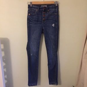 "Madewell 10"" High Rise Skinny Button Fly jeans 23"